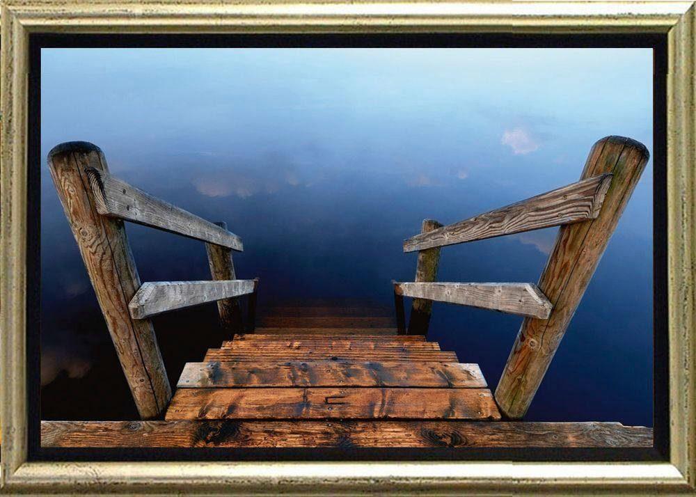 Premium Picture Schattenfugenbild »Steg in die Tiefe«, 76/56 cm