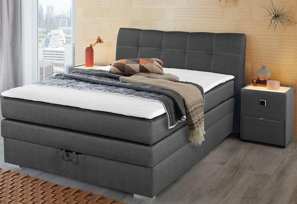 boxspringbett mit bettkasten und topper kaufen otto. Black Bedroom Furniture Sets. Home Design Ideas
