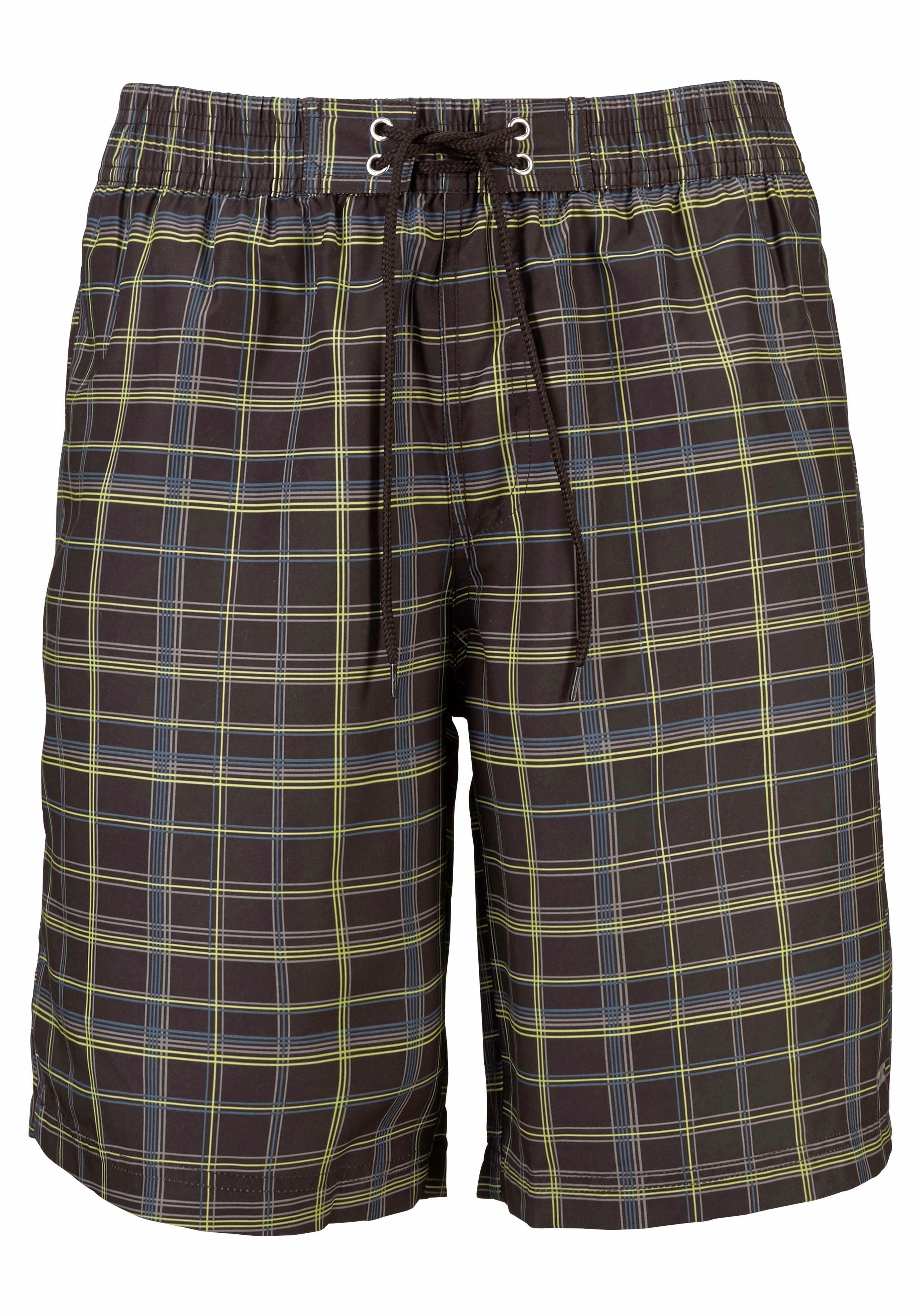 s.Oliver RED LABEL Beachwear Badeshorts mit kariertem Druck   Bekleidung > Shorts & Bermudas > Shorts   Braun   s.Oliver RED LABEL Beachwear