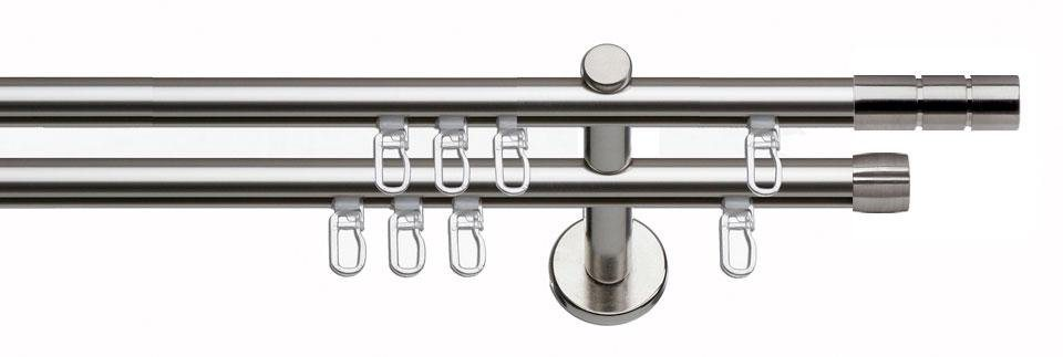Gardinenstange, indeko, »Hamburg«, 1- oder 2-läufig nach Maß, ø 20 mm, mit Innenlauf | Heimtextilien > Gardinen und Vorhänge > Gardinenstangen | Edelstahl - Aluminium | indeko