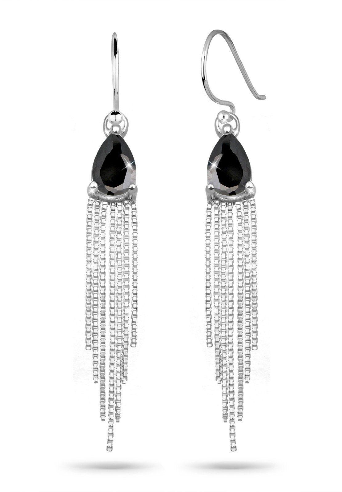 Elli Ohrringe »Tropfen Ketten Zirkonia Elegant 925 Silber«