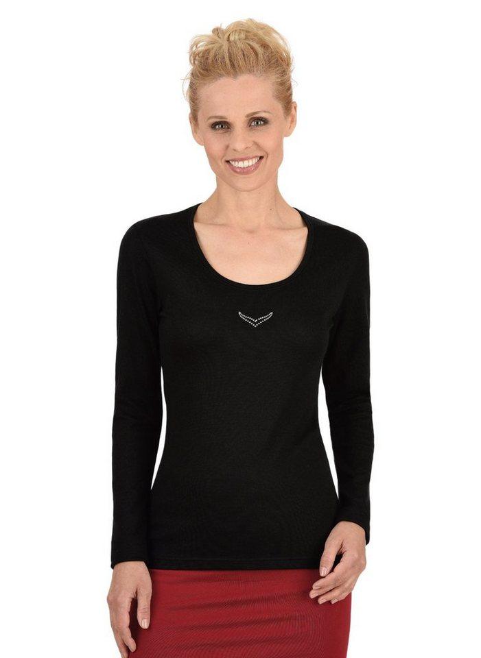 TRIGEMA Langarm-Shirt mit Swarovski® Kristallen in schwarz
