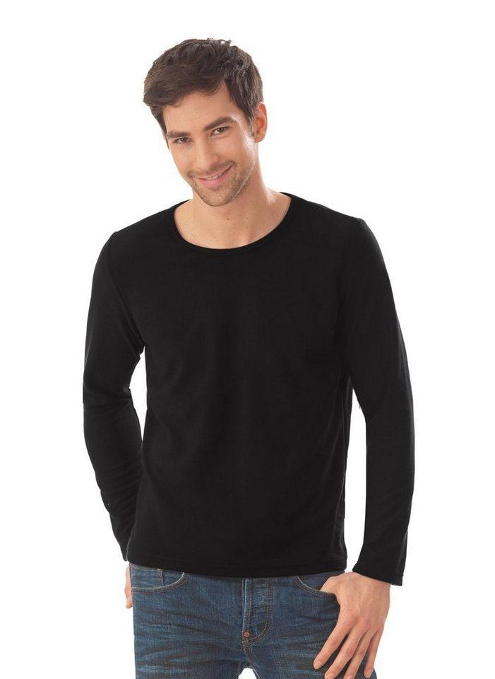 TRIGEMA Fleece-Rundhals-Shirt in schwarz