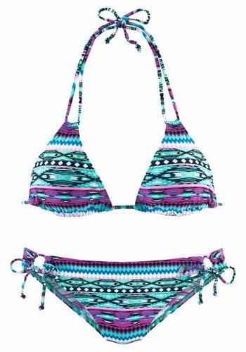 Damen s.Oliver RED LABEL Beachwear Triangel-Bikini im angesagten Ethno-Design grün | 04893848514695