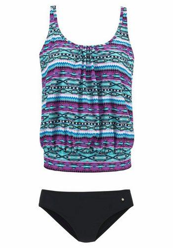 Damen s.Oliver RED LABEL Beachwear Oversize-Tankini im aktuellen Ethno-Design grün | 04893848514374