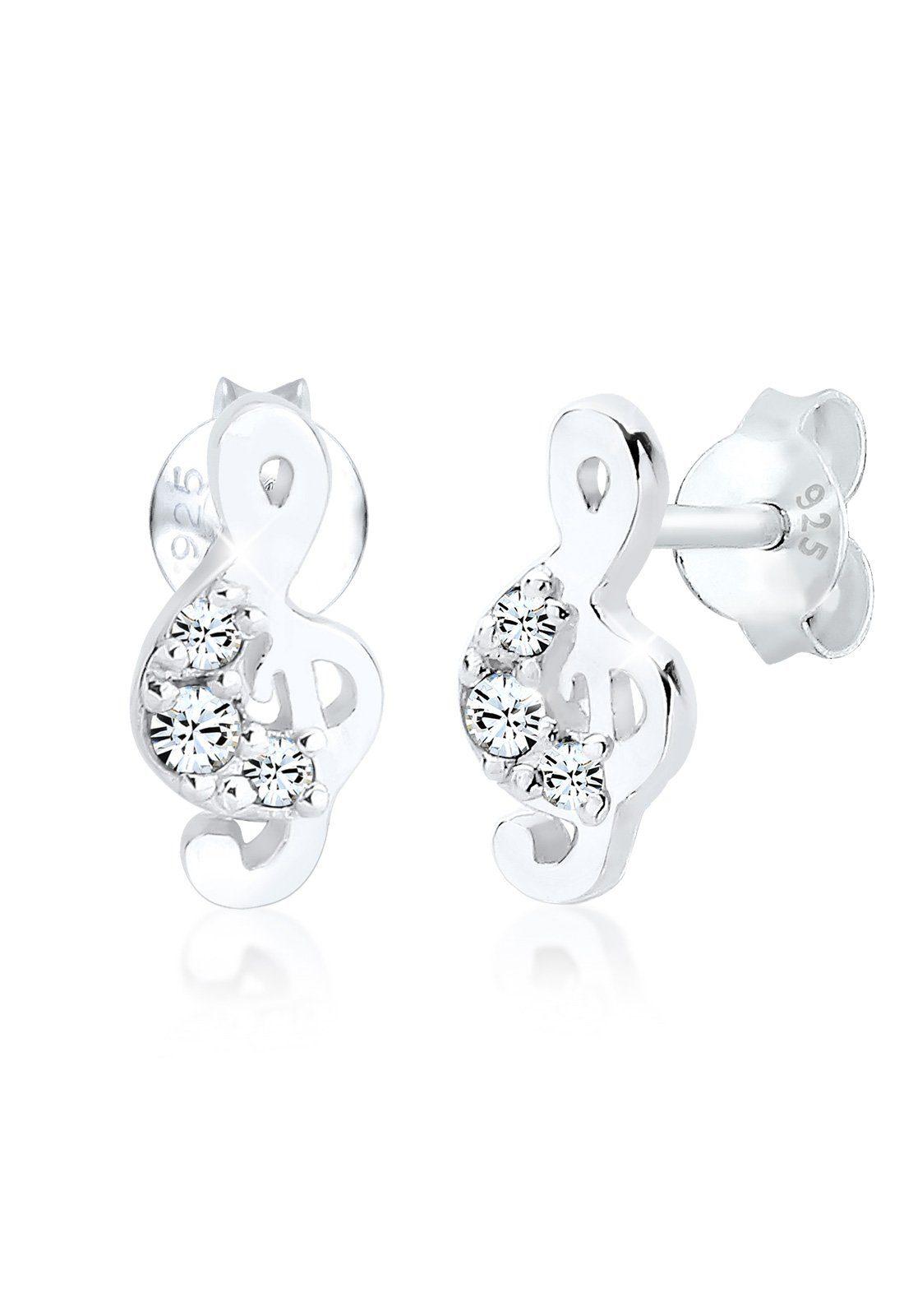 Elli Ohrringe »Notenschlüssel Swarovski® Kristalle 925 Silber«