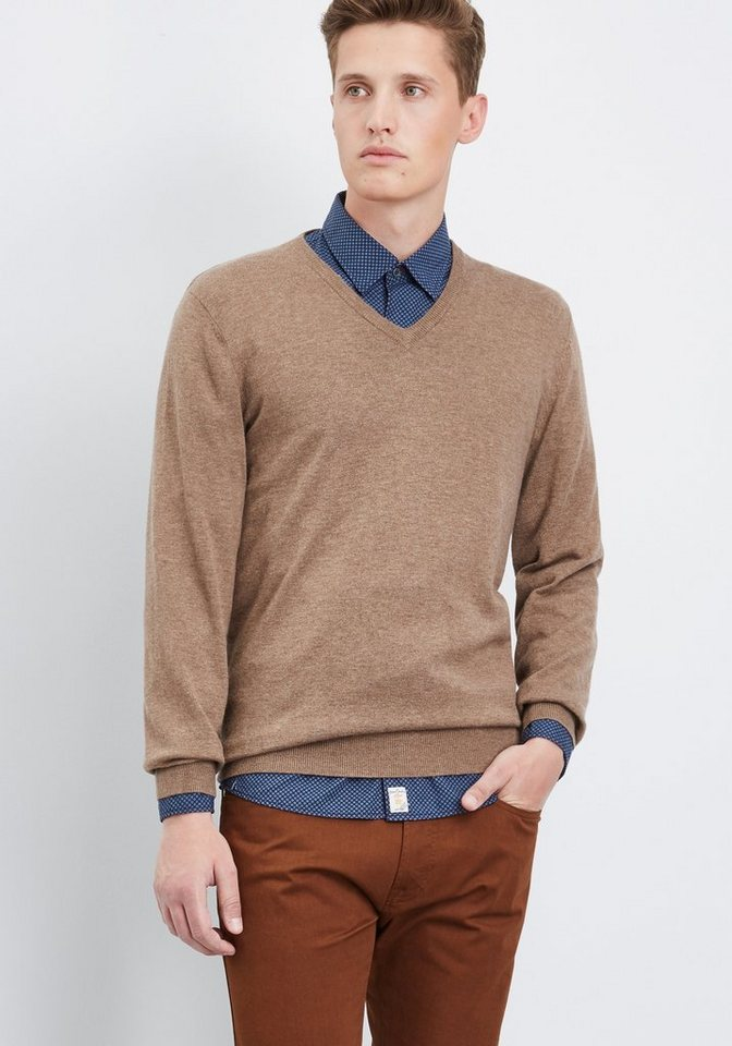 PIERRE CARDIN Strickpullover V-Neck in beige