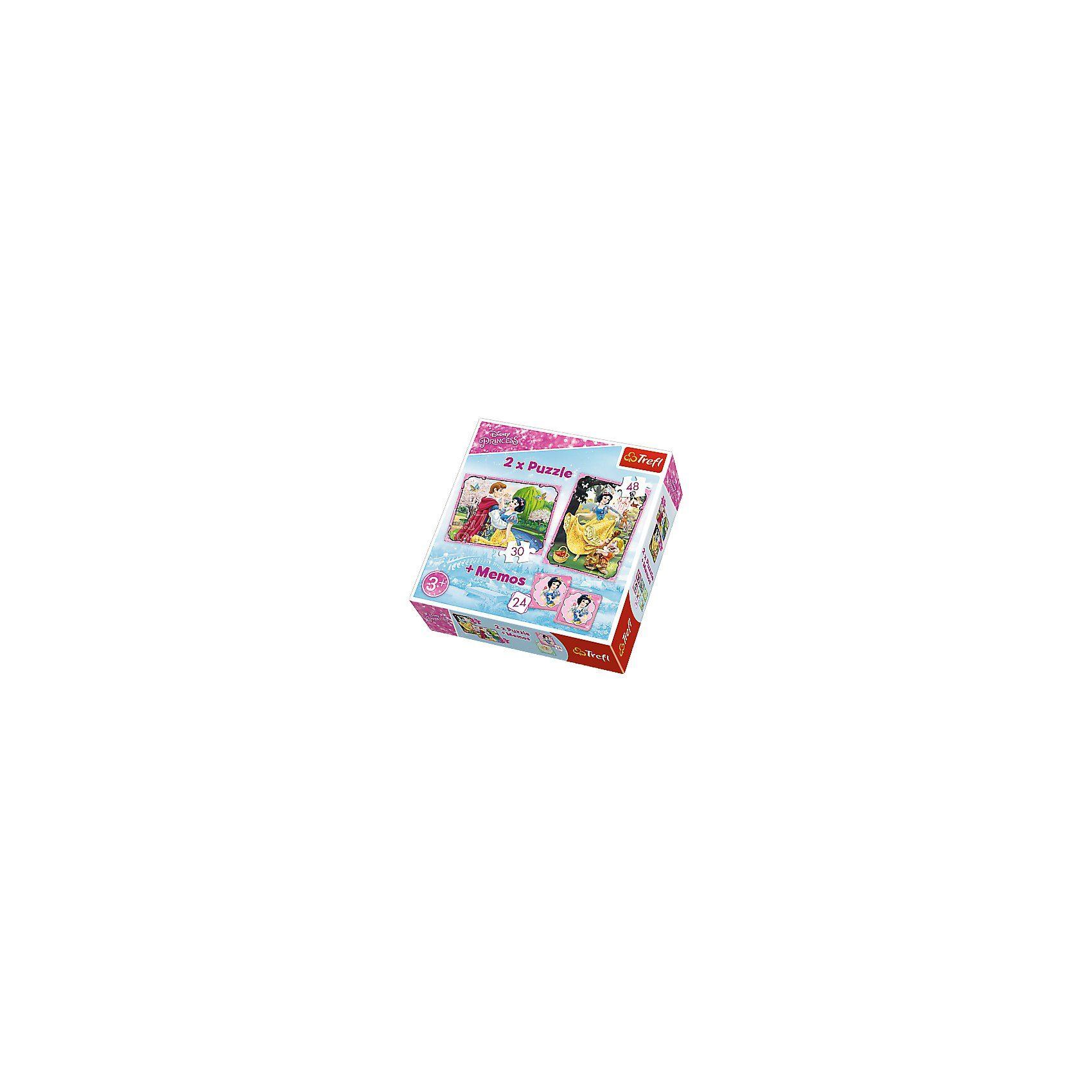 Trefl 2 Puzzles + Memo - Disney Princess Schneewittchen