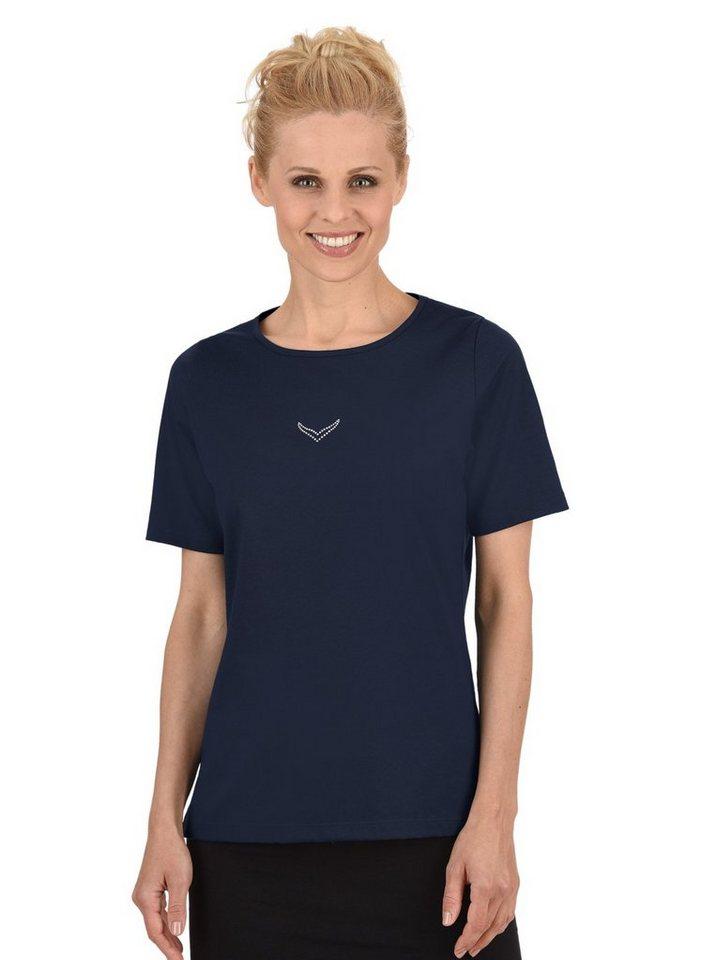 TRIGEMA T-Shirt DELUXE Baumwolle mit Swarovski® Kristallen in navy