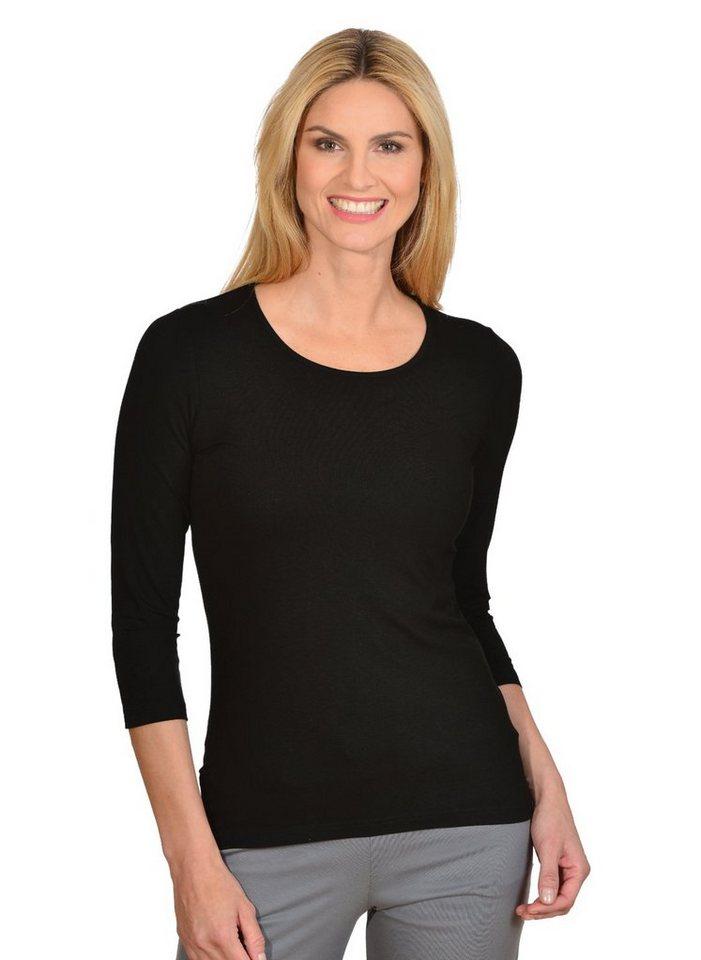 TRIGEMA Shirt aus Viskose 3/4-Ärmel in schwarz