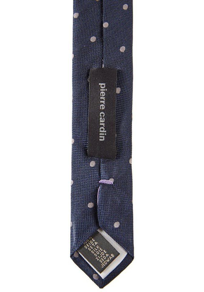PIERRE CARDIN Seiden-Krawatte gepunktet in dunkelblau