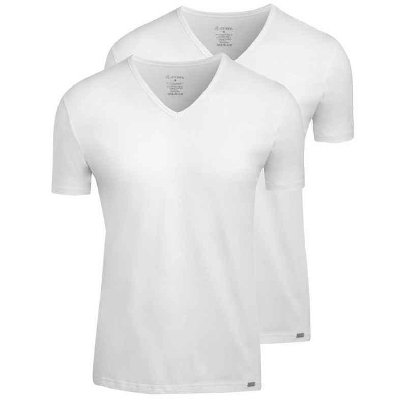 Jockey Unterhemd »2er Pack Modern Stretch« (2 Stück), Shirt mit V-Ausschnitt - Bequemer Tragekomfort, T-Shirt mit V-Ausschnitt, Metall-Logo am Saum