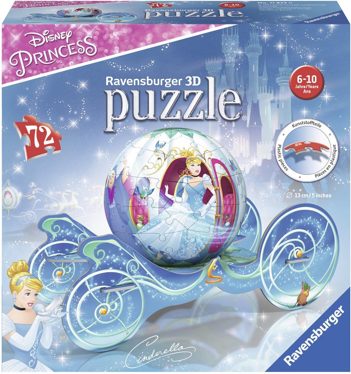 Ravensburger 3D Puzzleball mit Kutsche, 72 Teile, »Cinderella Kutsche«