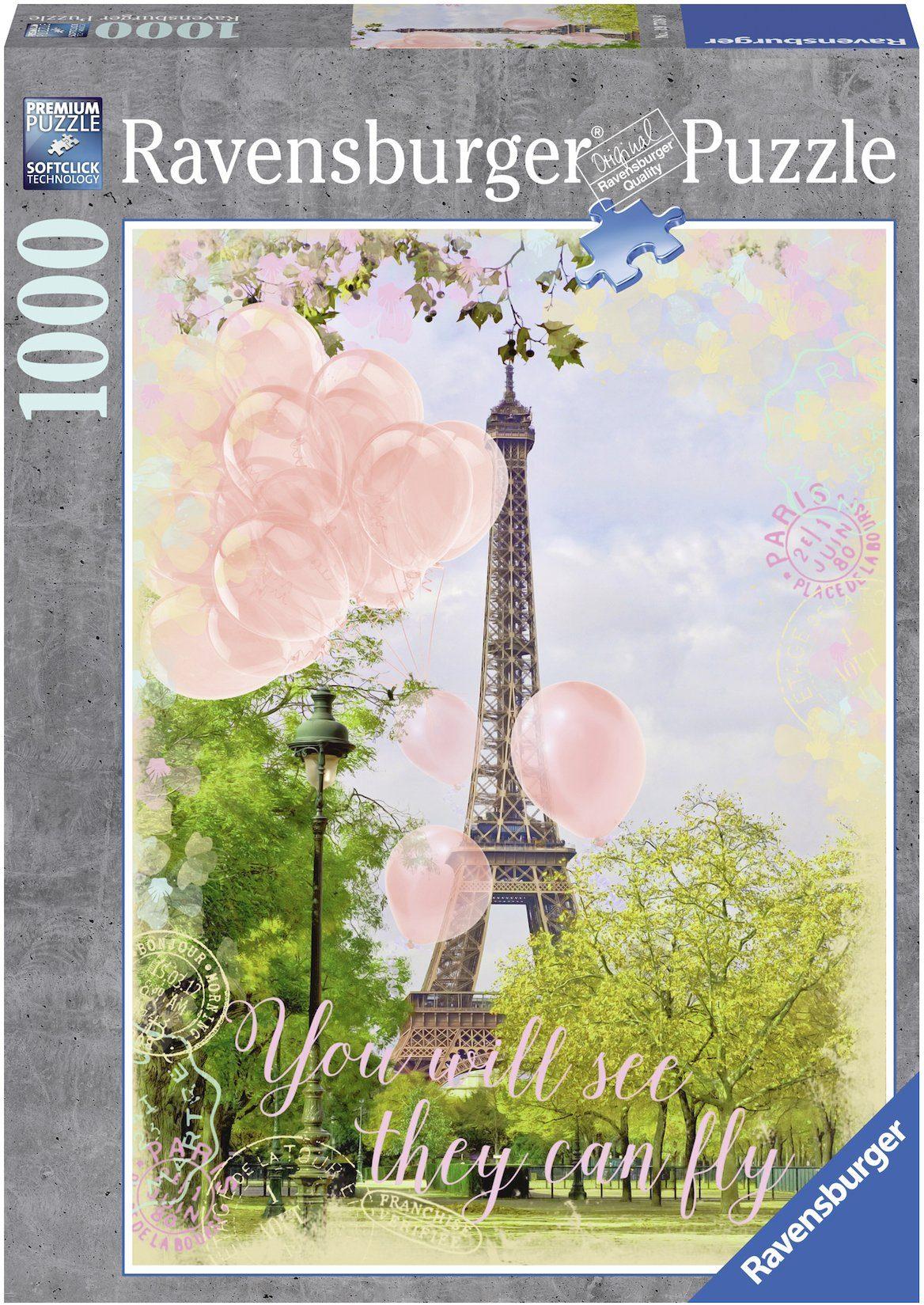 Ravensburger Puzzle, 1000 Teile, »Luftballons am Eiffelturm«