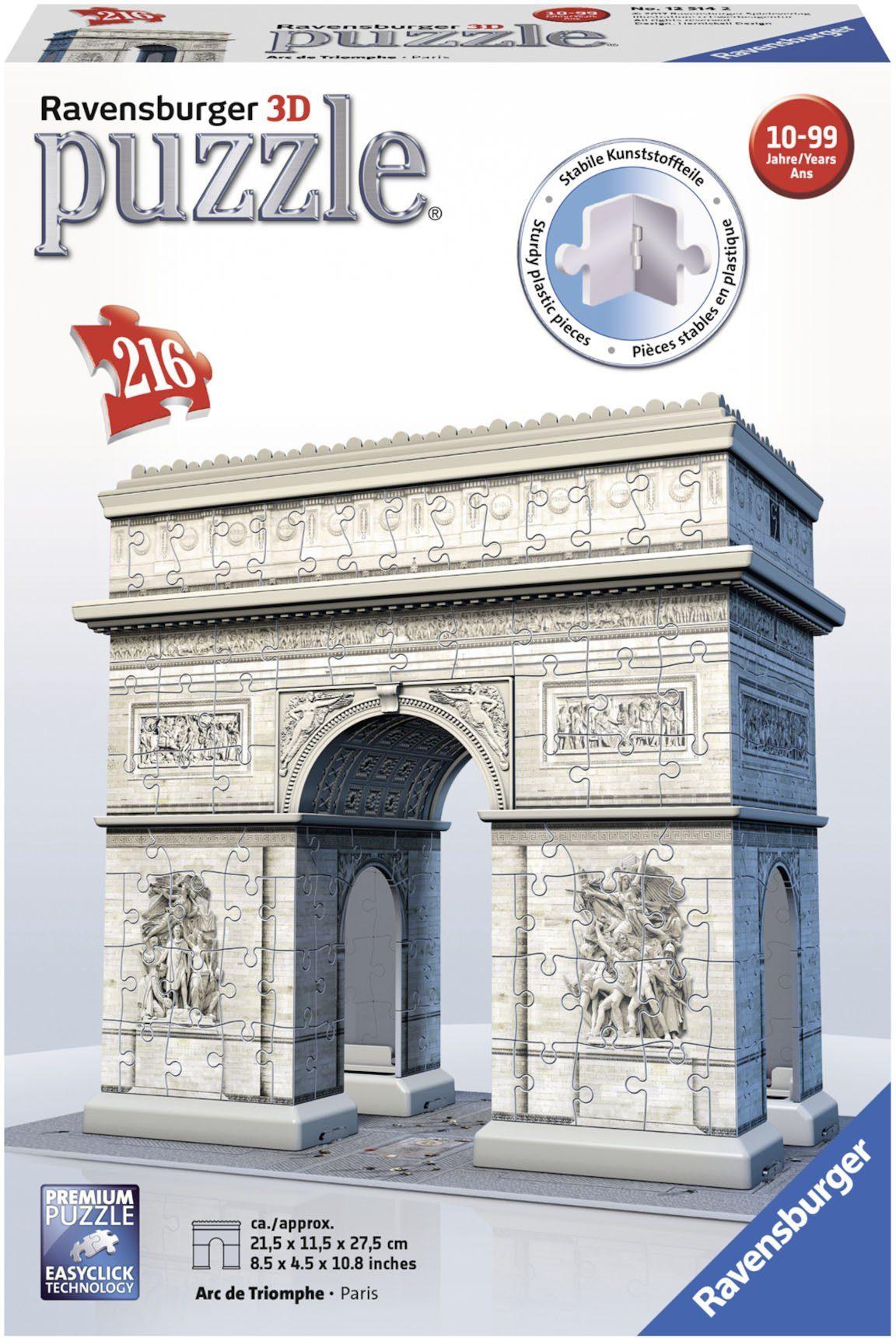 Ravensburger 3D Puzzle, 216 Teile, »Triumphbogen Paris«