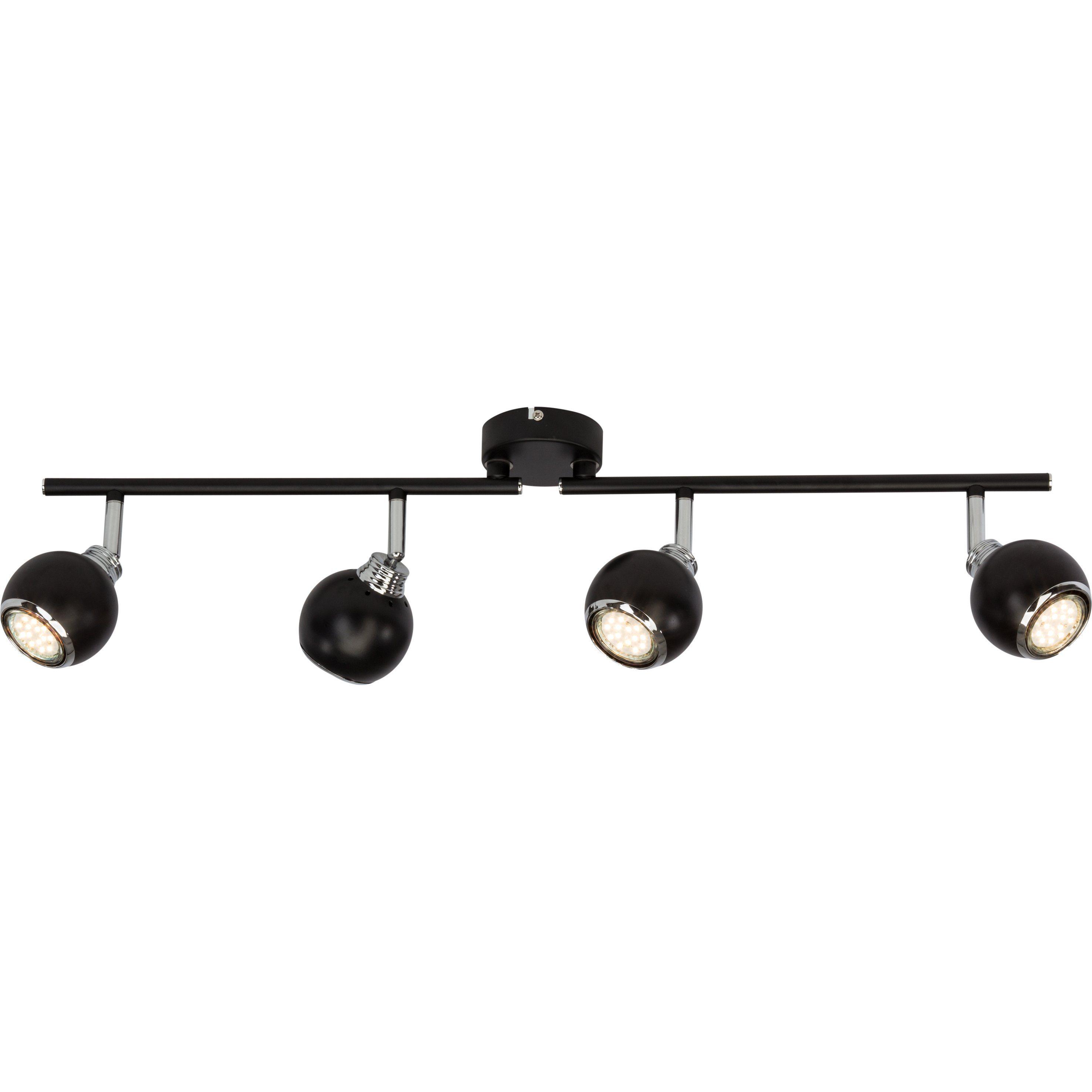 Brilliant Leuchten Ina LED Spotrohr, 4-flammig schwarz/chrom
