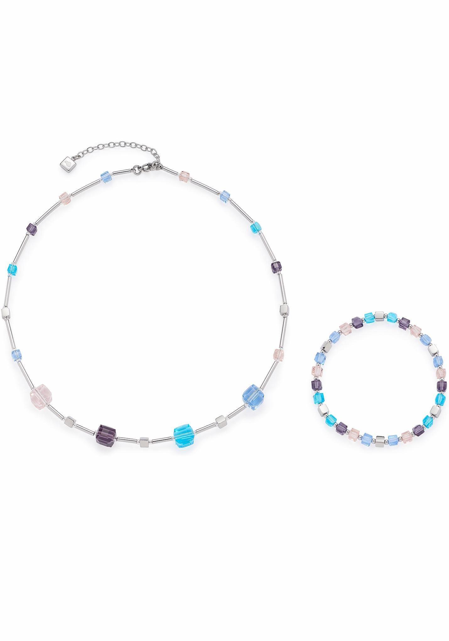 LEONARDO Ketten und Armband Set »Set Halskette + Armband Cubetto multicolor, 016290« (Set, 2 tlg), mit Glassteinen