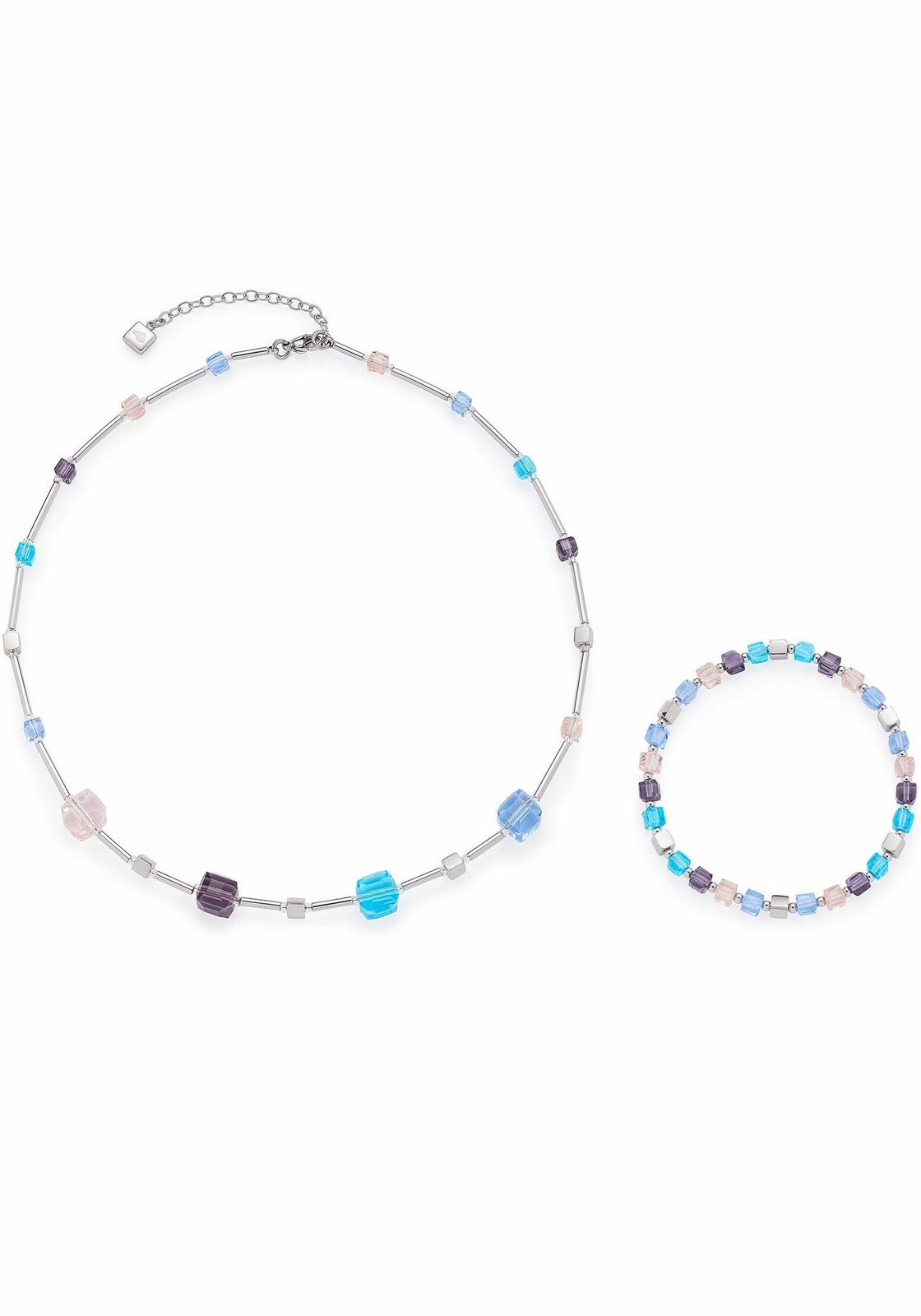 JEWELS BY LEONARDO Ketten und Armband Set »Set Halskette + Cubetto multicolor, 016290« (Set, 2 tlg), mit Glassteinen