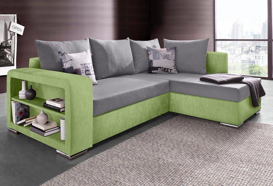 collection ab polsterecke mit bettfunktion und regalarmteil online kaufen otto. Black Bedroom Furniture Sets. Home Design Ideas