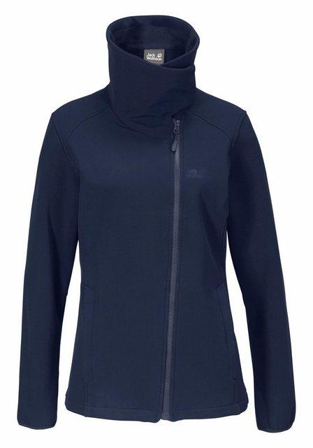 Damen Jack Wolfskin Softshelljacke VALLEY WOMEN mit asymmetrischem Reißverschluss blau | 04055001645572