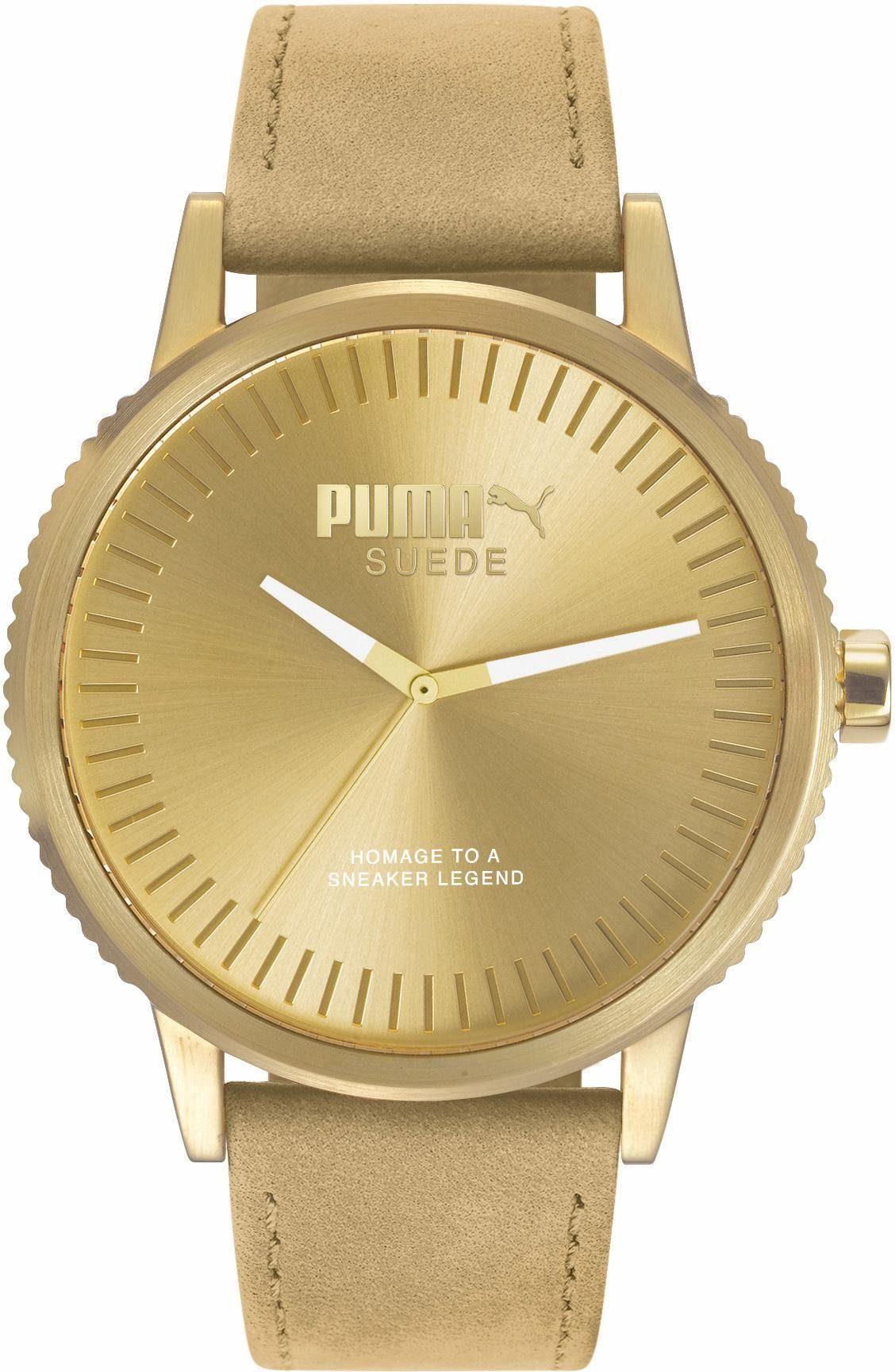 PUMA Quarzuhr »PU1041 SUEDE - monochrome beige, PU104101009«