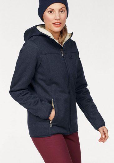Jack Wolfskin Function-hooded Sweat Jacket Terra Nova Bay Women, With Soft Sherpa-fleece