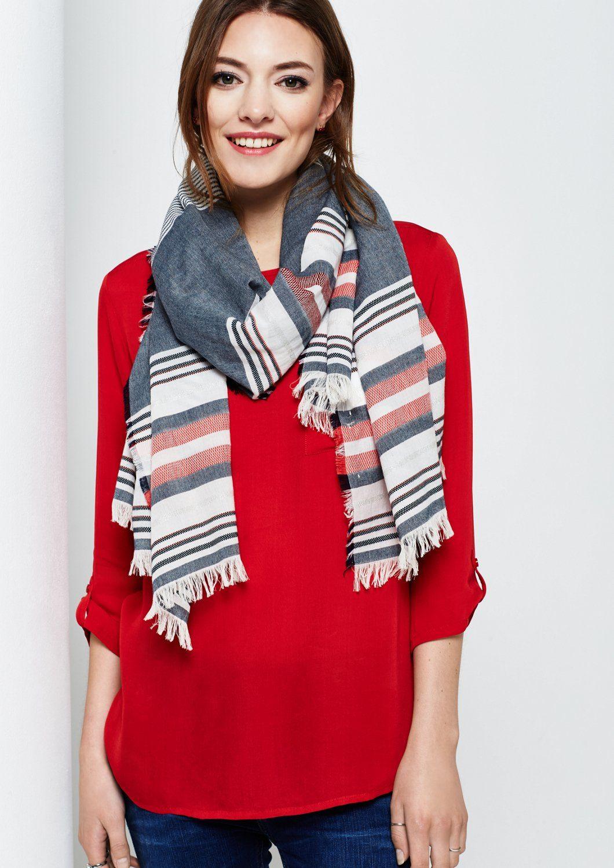 COMMA Eleganter Schal mit Fransenverzierungen