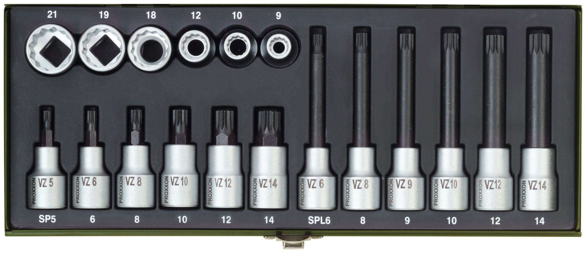 PROXXON Steckschlüsselsatz »für Vielzahnschrauben XZN«, (18-tlg.)