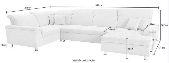 Sofas - DOMO collection Wohnlandschaft, wahlweise mit Bettfunktion und Kopfteilverstellung  - Onlineshop OTTO