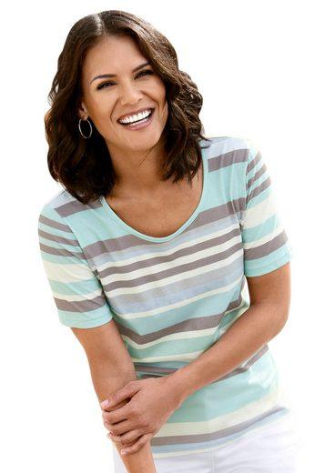 taupe In Qualität Weicher Casual geringelt Looks Shirt Mint exCdBo