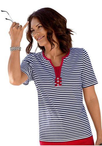 Damen Collection L. 2-in-1-Shirt mit dekorativem Kontrasteinsatz blau | 08698735104302