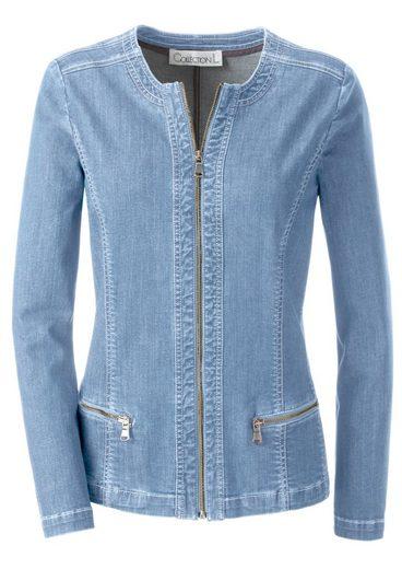 Collection L. Jeans-Jacke mit dekorativen Kontrastnähten rundum