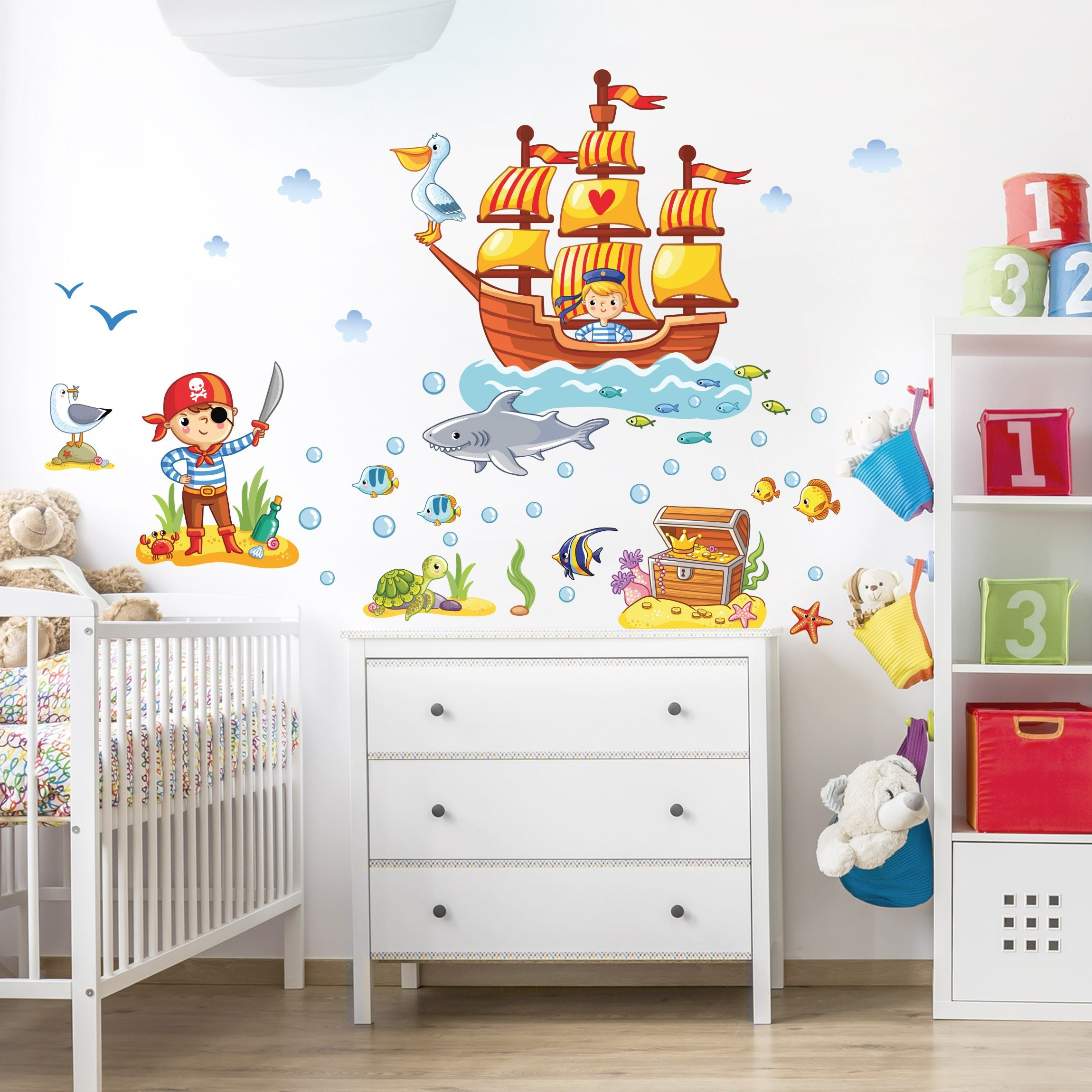 Wandtattoo Kinderzimmer »Piraten Set«