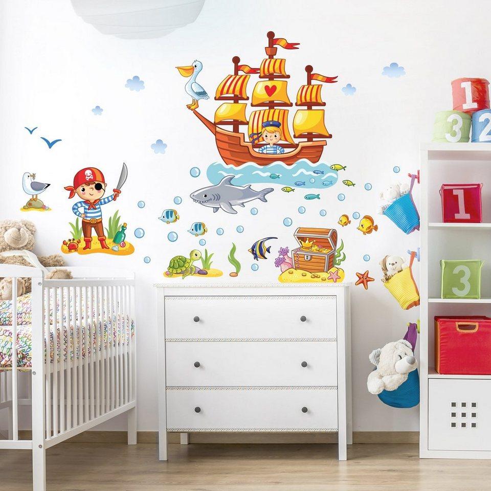 Kinderzimmer deko junge pirat  Bilderwelten Wandtattoo Kinderzimmer »Piraten Set« | OTTO