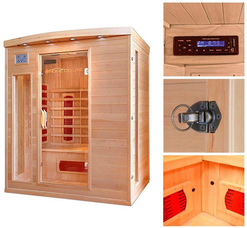 home deluxe infrarotkabine tropical l b t h 153 110 190 cm 40 mm f r bis zu 3 personen. Black Bedroom Furniture Sets. Home Design Ideas