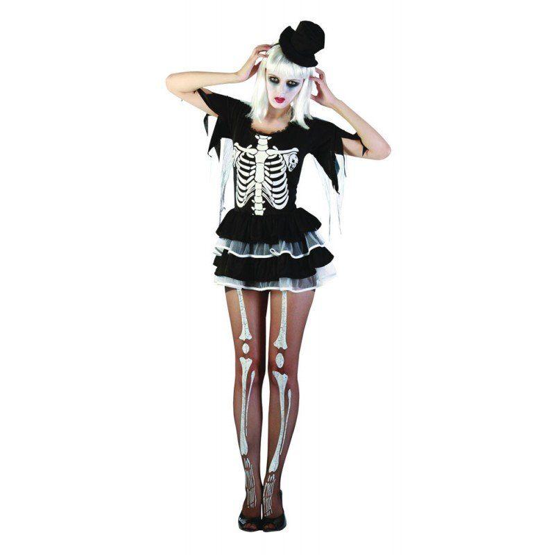 Knochige Skelett Lady Halloweenkostüm - S/M