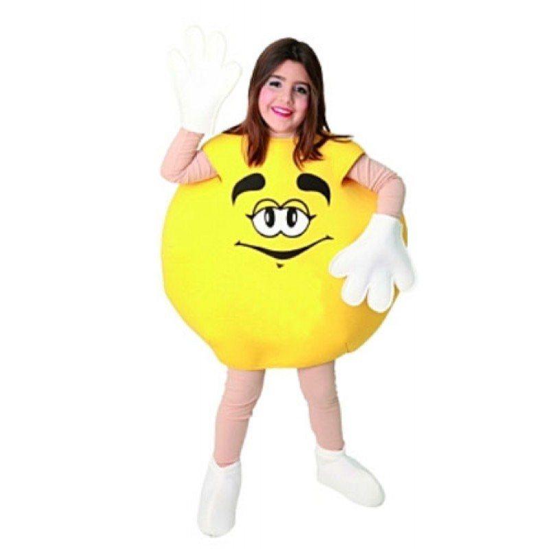 Schokolinsen Kostüm für Kinder gelb - 116-140