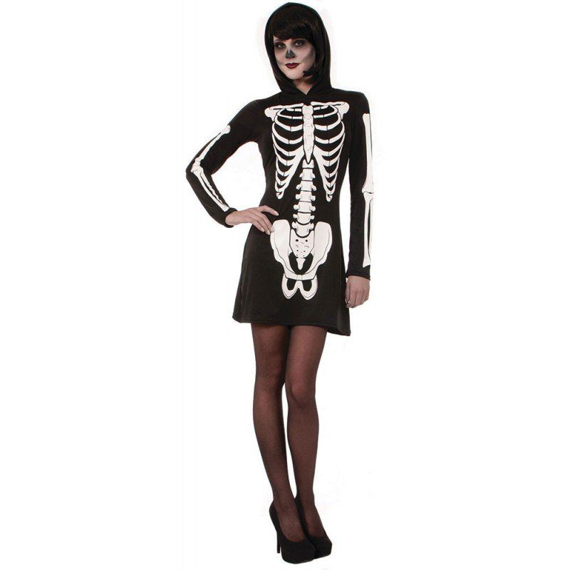 Skelett Lady Halloween Damenkostüm - S/M