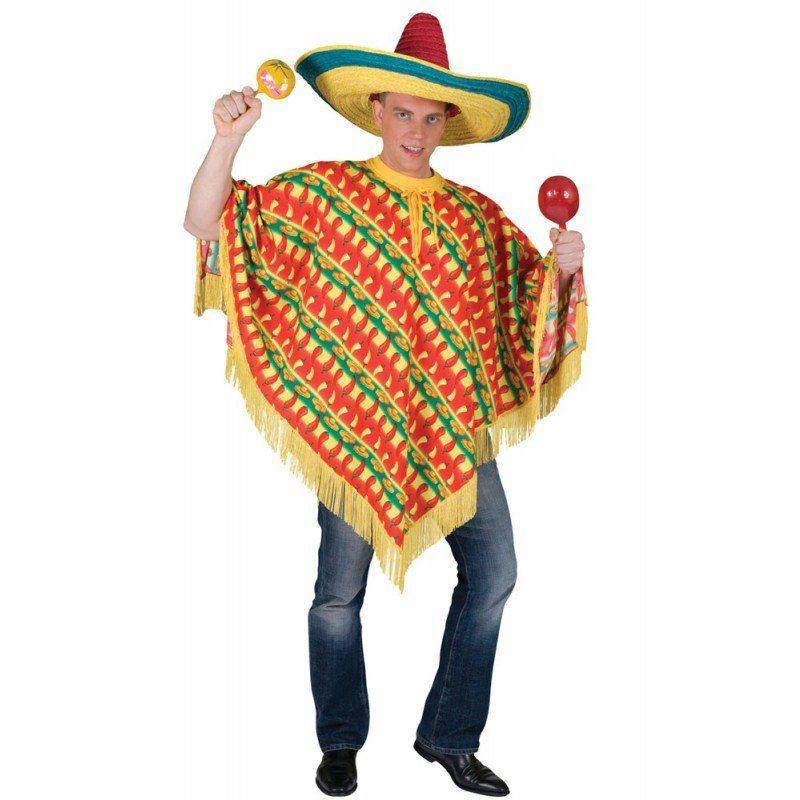 Hot Chili Mexikaner Poncho für Herren - M/L