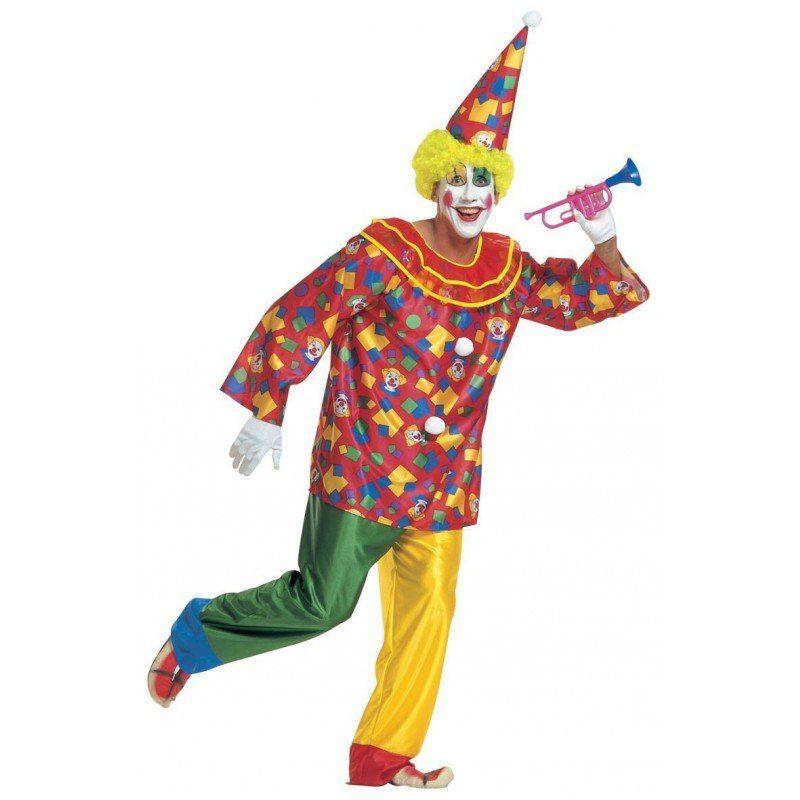 Buntes Clown Kostüm für Herren - XL