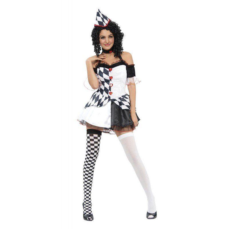 Unisex Sexy Pierrot Harlekin Damenkostüm – S/M bunt,  mehrfarbig | 05051090019552
