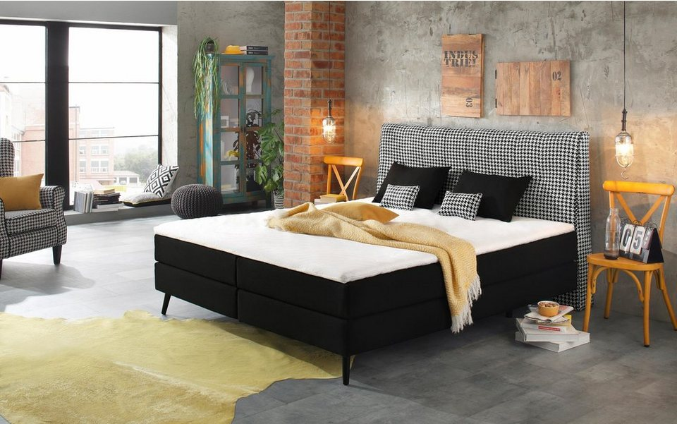 home affaire boxspringbett scarlett incl topper 4 dekokissen 3 breiten 2 h rtegrade. Black Bedroom Furniture Sets. Home Design Ideas