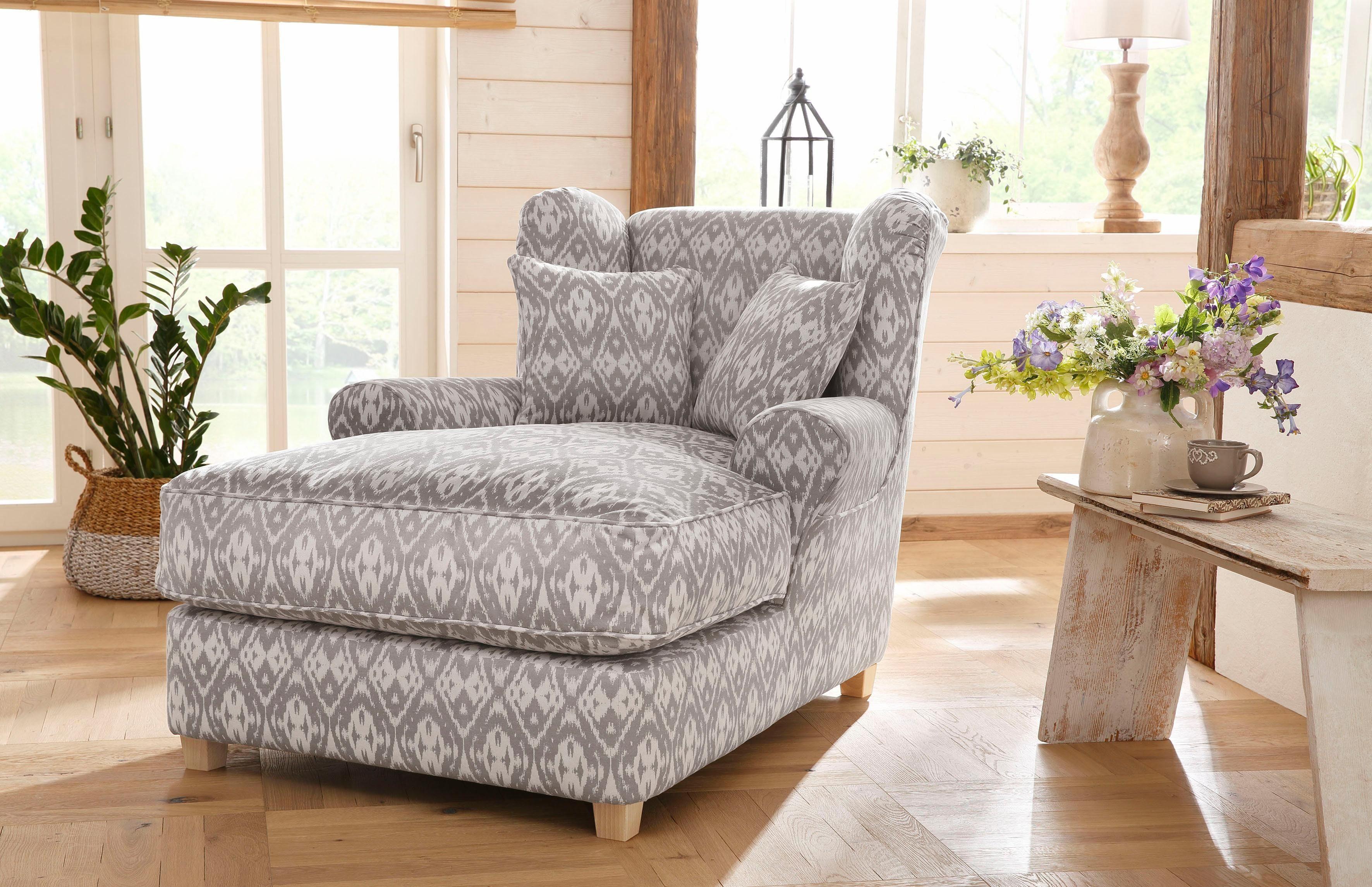 Home Affaire Mega-Sessel »Ango« XXL mit Kedernaht und 2 Zierkissen, Luxus-Microfaser
