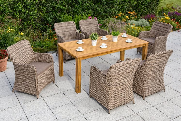 MERXX Gartenmöbelset »Lissabon«, 13-tlg., 6 Sessel, Tisch 185x90 cm, Polyrattan/Akazienholz