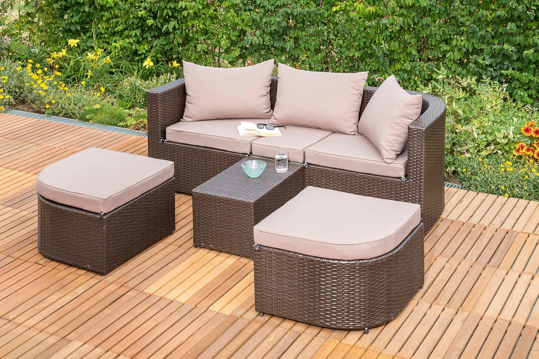 MERXX Loungebett »Madeira«, Polyrattan, braun, inkl. Auflagen
