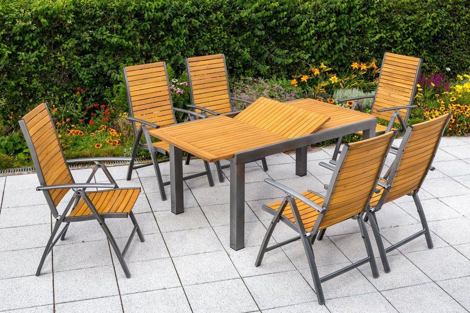 MERXX Gartenmöbelset »Santorin«, 7-tlg., 6 Klappsessel, Tisch 150 ...