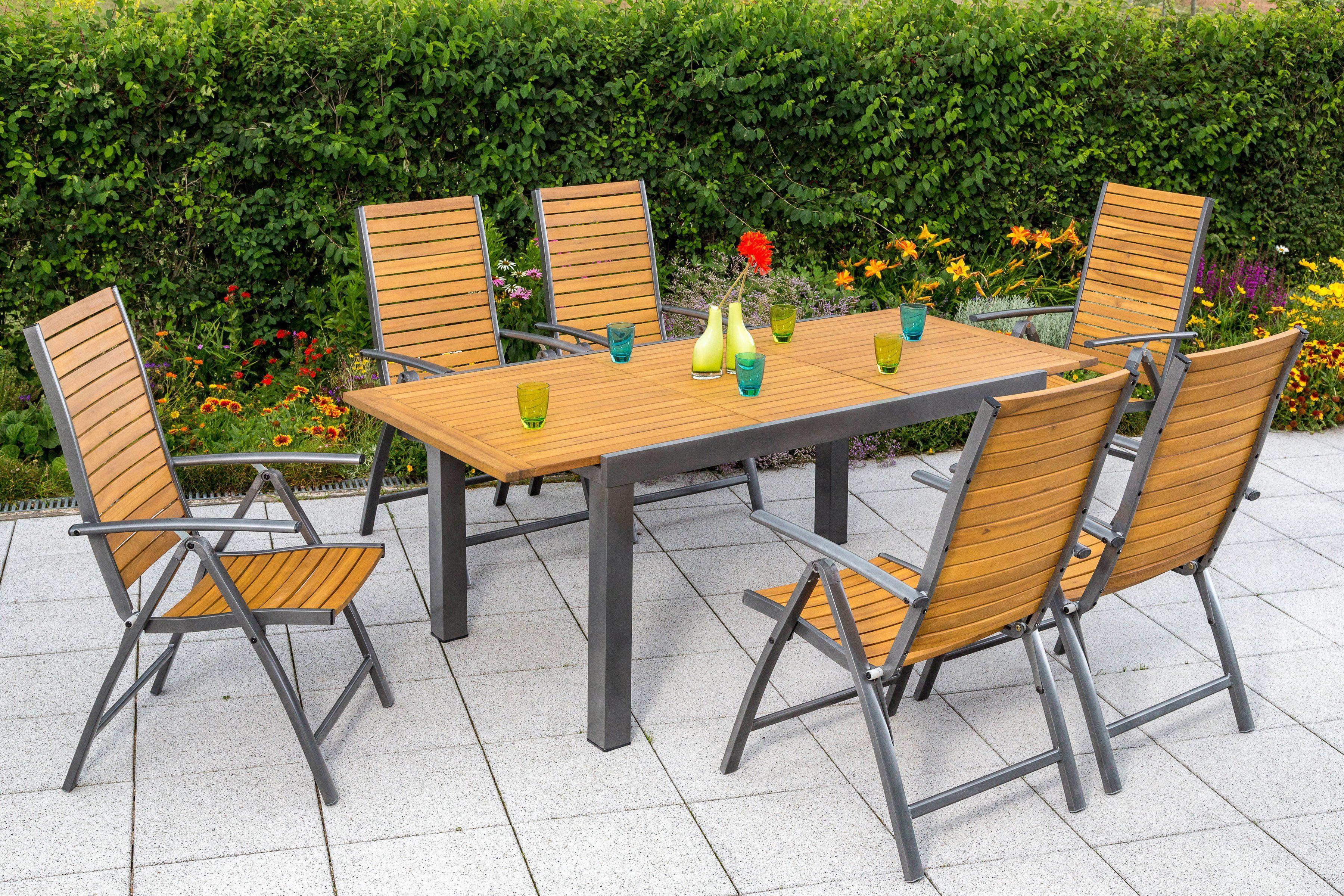 MERXX Gartenmöbelset »Santorin«, 7-tlg., 6 Klappsessel, Tisch 150-200 cm, Alu/Akazienholz