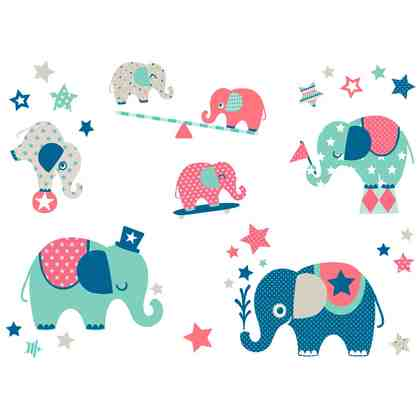 ANNA WAND DESIGN 33tlg. Wandsticker Minis Elefanten Boys