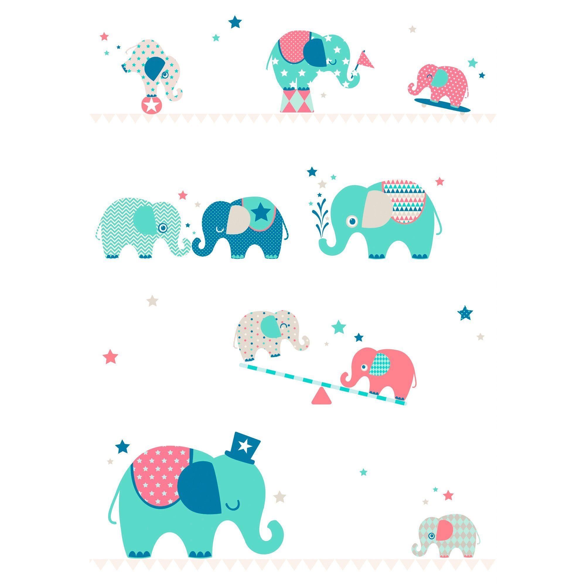 ANNA WAND DESIGN 4tlg. Tapetenwandbild Elefanten Boys 270x186 cm