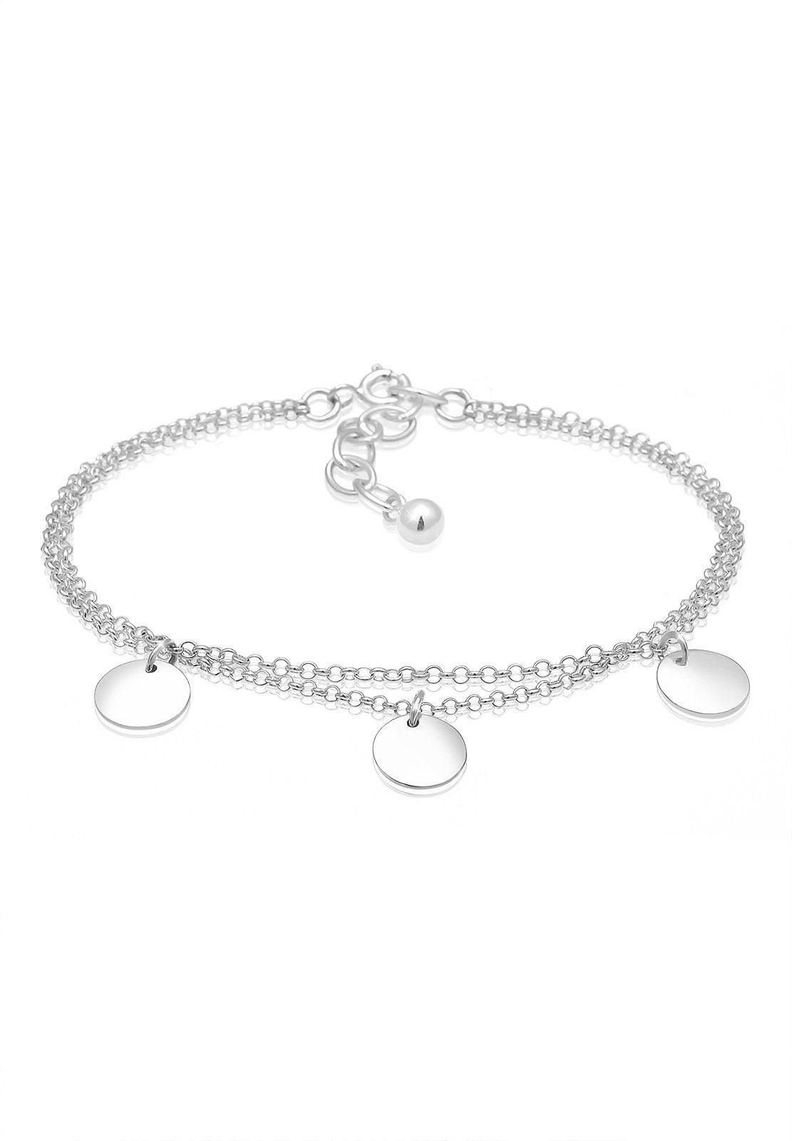 Elli Armband »Kreis Layer Geo Plättchen 925 Sterling Silber«